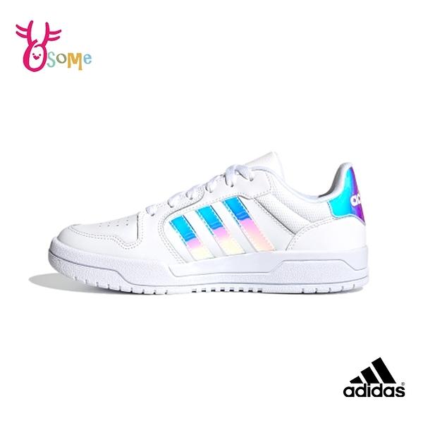 adidas休閒鞋 女鞋 ENTRAP 光澤感三線 皮革舒適休閒鞋 休閒運動鞋 籃球運動鞋 T9310#白色◆奧森