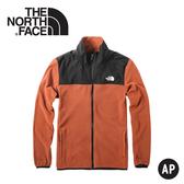 【The North Face 美國 男 刷毛保暖外套《橘紅》】3VTA/抓絨外套/夾克/立領外套/保暖外套/中層