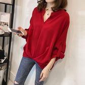 【GZ23】韓版寬鬆蝙蝠袖襯衫V領前短後長百搭長袖上衣 M~4XL