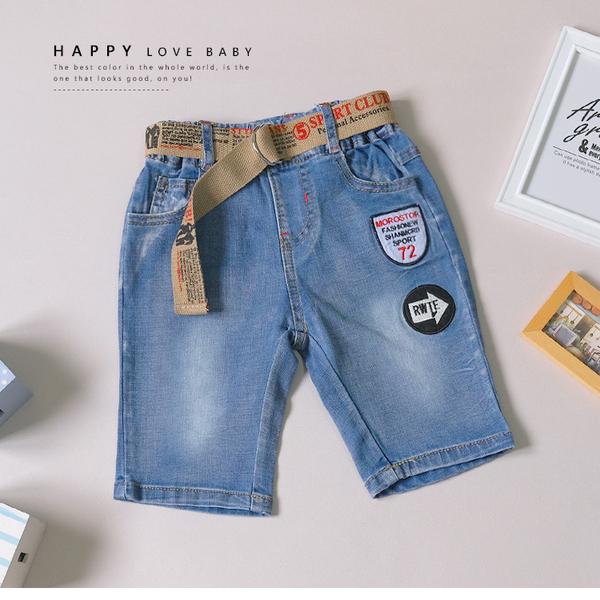 美式徽章刷白牛仔短褲 丹寧 附腰帶 春夏童裝 男童短褲 男童牛仔短褲 男童褲子