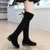 長靴 秋冬季女式長筒靴子歐美英倫時尚騎士靴圓頭中跟方跟防滑女靴【諾克男神】