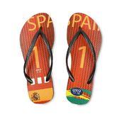 QWQ創意鞋-  世界盃足球紀念鞋 西班牙 細帶女款天然橡膠人字拖