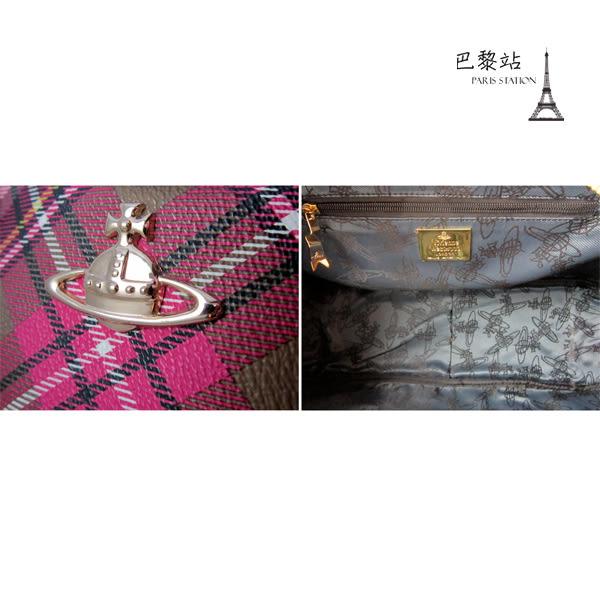 【巴黎站二手名牌專賣店】*現貨*Vivienne Westwood 真品 *紅白大格紋 手提包