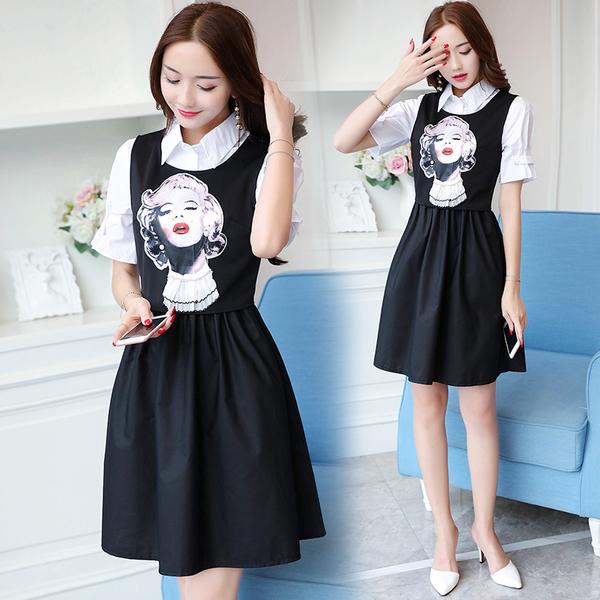 清倉388 韓國風百搭時尚氣質人物小背心蓬蓬裙套裝短袖裙裝
