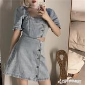 牛仔洋裝-露腰顯瘦泡泡袖牛仔裙女裝裙子2020新款夏季氣質方領收腰洋裝潮 Cocoa