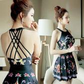 遮肚顯瘦保守復古小胸聚攏性感韓國溫泉遊泳女連體裙式泳衣 DA431『黑色妹妹』