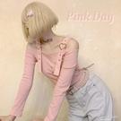 原創金屬愛心五金可愛朋克少女金色日文刺繡露肩長袖修身T恤 H 果果輕時尚
