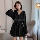 2020年潮流行新款初春女裝長袖設計感小眾襯衫洋裝子法式早秋款 小城驛站