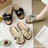 拖鞋女夏季新款時尚外穿百搭鬆糕防滑花朵涼拖鞋夏天 糖糖女屋