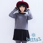 betty's貝蒂思 下擺拼接百褶雪紡假兩件式針織衫(灰色)