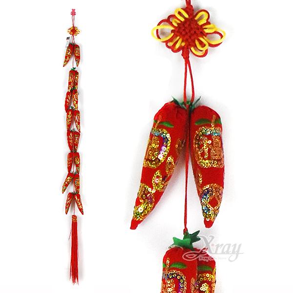 節慶王【Z157820】亮片辣椒串16頭,春節/過年/過年佈置/狗年/吊飾/掛飾/辣椒