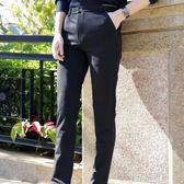 薄款休閒褲男士直筒小腳修身商務西褲長褲寬鬆黑色褲子男韓版『小宅妮時尚』