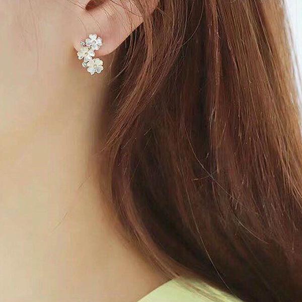 耳環 甜美 貝殼 水鑽 花朵 珍珠 吊墜 氣質 耳釘 耳環【DD1903278】 BOBI  05/09