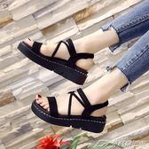 一字扣涼鞋女新款韓版百搭平底鞋子學生鬆糕鞋女厚底女鞋潮  潮流前線