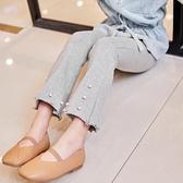 女童打底褲2021春秋新款6-7-89歲純棉中小兒童褲子外穿女孩喇叭褲
