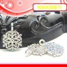 銀鏡DIY S925純銀DIY材料配件/夢幻聖誕雪花造型吊墜E(厚版)~適合手作蠶絲蠟線/幸運衝浪繩(非合金)