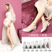 亮片鞋婚鞋女粗跟婚紗鞋綁帶新娘鞋銀色平跟伴娘鞋舞臺演出鞋 nm3673 【野之旅】