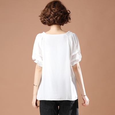 L-5XL胖妹妹大碼短T~白色短袖T恤女寬松時尚減齡荷葉邊袖V領上衣女NB11G愛尚布衣