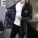 新款中長款風衣男士加絨加厚夾克外套秋冬季學生韓版衣服男裝 酷男精品館