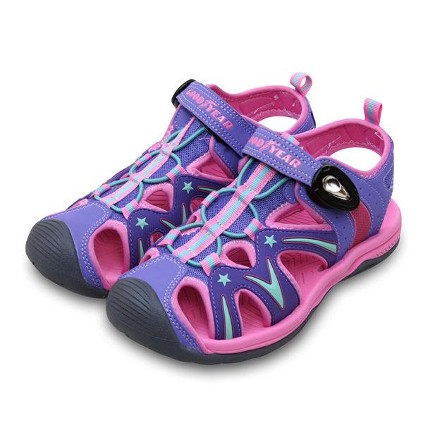 LIKA夢 GOOD YEAR 多功能運動護趾涼鞋 迷幻星河系列 粉紫綠 78803 中大童