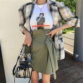 梨卡 - 初秋韓國新款復古腰帶縮腰半身裙高腰包臀短裙B967