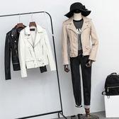 皮衣外套-翻領純色多拉鍊短款女夾克3色73on11[巴黎精品]
