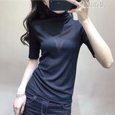 歐洲站早春新款歐貨純色高領打底衫女短袖薄款性感T恤潮 青山市集