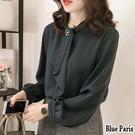 藍色巴黎 - 韓版 純色領巾釦長袖襯衫 ...
