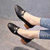 方頭奶奶鞋粗跟女春仙女的平底鞋