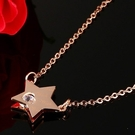 韓國五角星星鎖骨鍊 項鍊 玫瑰金 鈦鋼 水晶 吊墜 禮物 情人節 沂軒精品 F0049