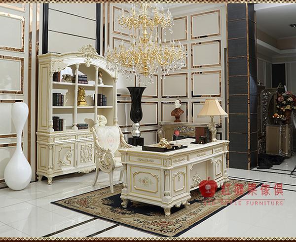 [紅蘋果傢俱] F132W 洛克思瑞系列 新古典 歐式 書桌 法式 宮廷 辦公桌 會議桌 辦公椅 1.8米書桌