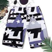 男士寬鬆海邊度假泳衣五分平角短褲