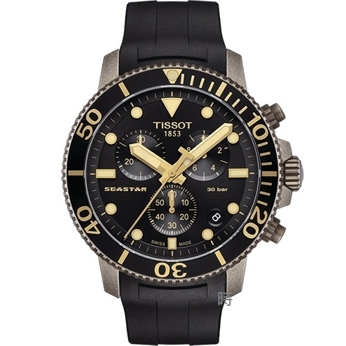 TISSOT 天梭Seastar 1000 海洋之星三眼計時 潛水錶 (T1204173705101) 禮物/45mm