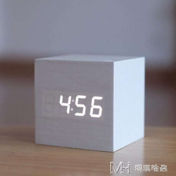 鬧鐘LED創意聲控數碼電子鬧鐘靜音學生夜光床頭正方形可愛木質鐘    瑪奇哈朵