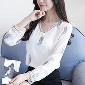 2019年春裝新款女韓版時尚百搭上衣洋氣小衫很仙的春季雪紡襯衫女