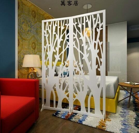發財樹折屏影視牆背景玄關時尚白色雕花折疊櫥窗擺設屏風 萬客居