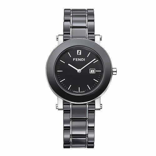 FENDI 典雅時尚陶瓷腕錶/黑/38mm/641110