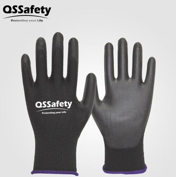 QSSafety無塵PU沾膠耐磨電子工地手套 園藝汽車透氣防護黑色手套