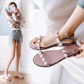 新款韓版珍珠涼鞋時尚女士平跟女鞋學生羅馬百搭平底鞋   遇見生活