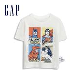 Gap男幼Gap x DC正義聯盟系列棉質英雄印花圓領短袖T恤545908-光感亮白