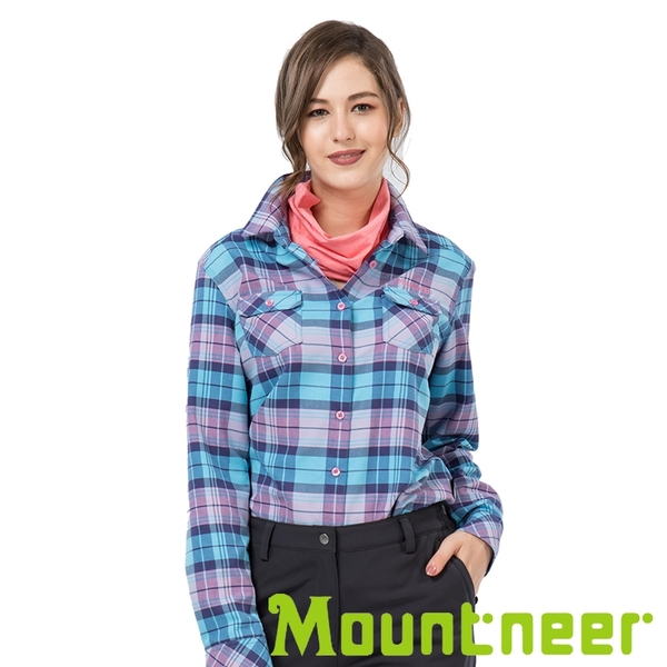 【Mountneer】女 CORDURA保暖格子襯衫『水藍』32B02 戶外.休閒.旅行.保暖.上班.通勤.出國旅遊