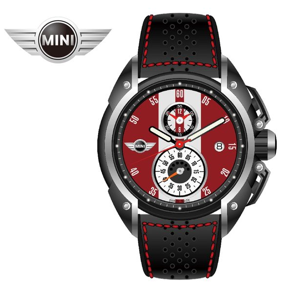 [萬年鐘錶】MINI Swiss Watches英國風格 辣椒紅面白條二眼分數數字三點日期窗黑色皮帶手錶 45mm MINI-08