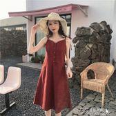 夏季新示復古吊帶裙小清新格子洋裝沙灘裙 海邊度假女夏潮 提拉米蘇