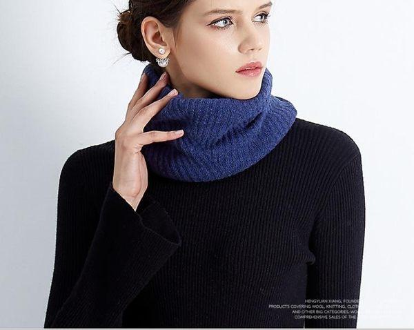 圍脖女 針織韓版男女通用羊毛圍脖女情侶脖套冬季套頭圍巾百搭   瑪麗蘇