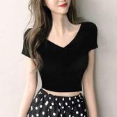 上衣 修身白色短款t恤女夏季上衣露臍短袖黑色高腰V領緊身純棉 綠光森林