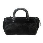 PRADA 普拉達 黑色皮草手提包 Fur Handbag 【二手名牌BRAND OFF】