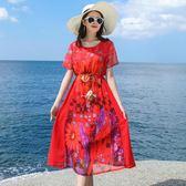 巴厘島沙灘裙女夏2019新款顯瘦海邊度假波西米亞中長裙雪紡連身裙