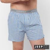 【JEEP】五片式剪裁 純棉平口褲(淺藍格紋)