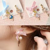耳環 甜美童話愛麗絲心鎖蝴蝶結不對稱耳針 珍珠點綴 柒彩年代【NDK42】