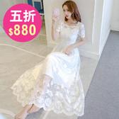 洋裝 韓版 小禮服 婚禮蕾絲短袖連身長裙 花漾小姐【現貨】